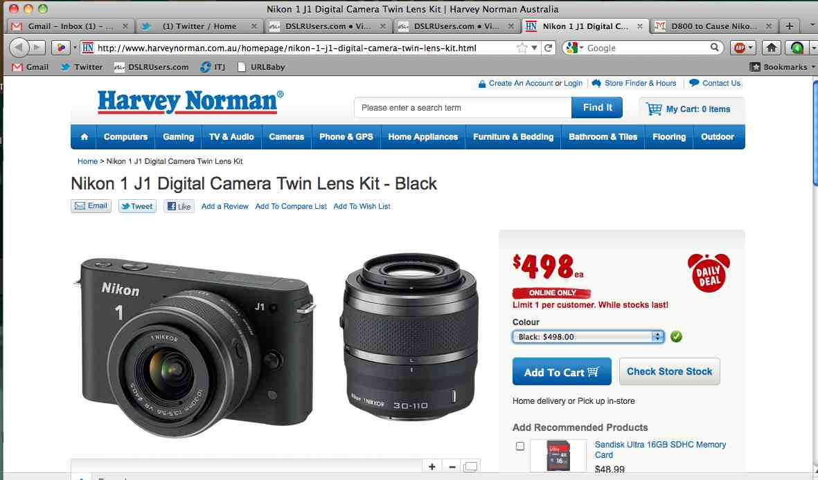 Harvey Norman Nikon J1 Pricing