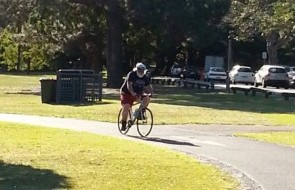 Gary Stark, on his bike. A very rare sight